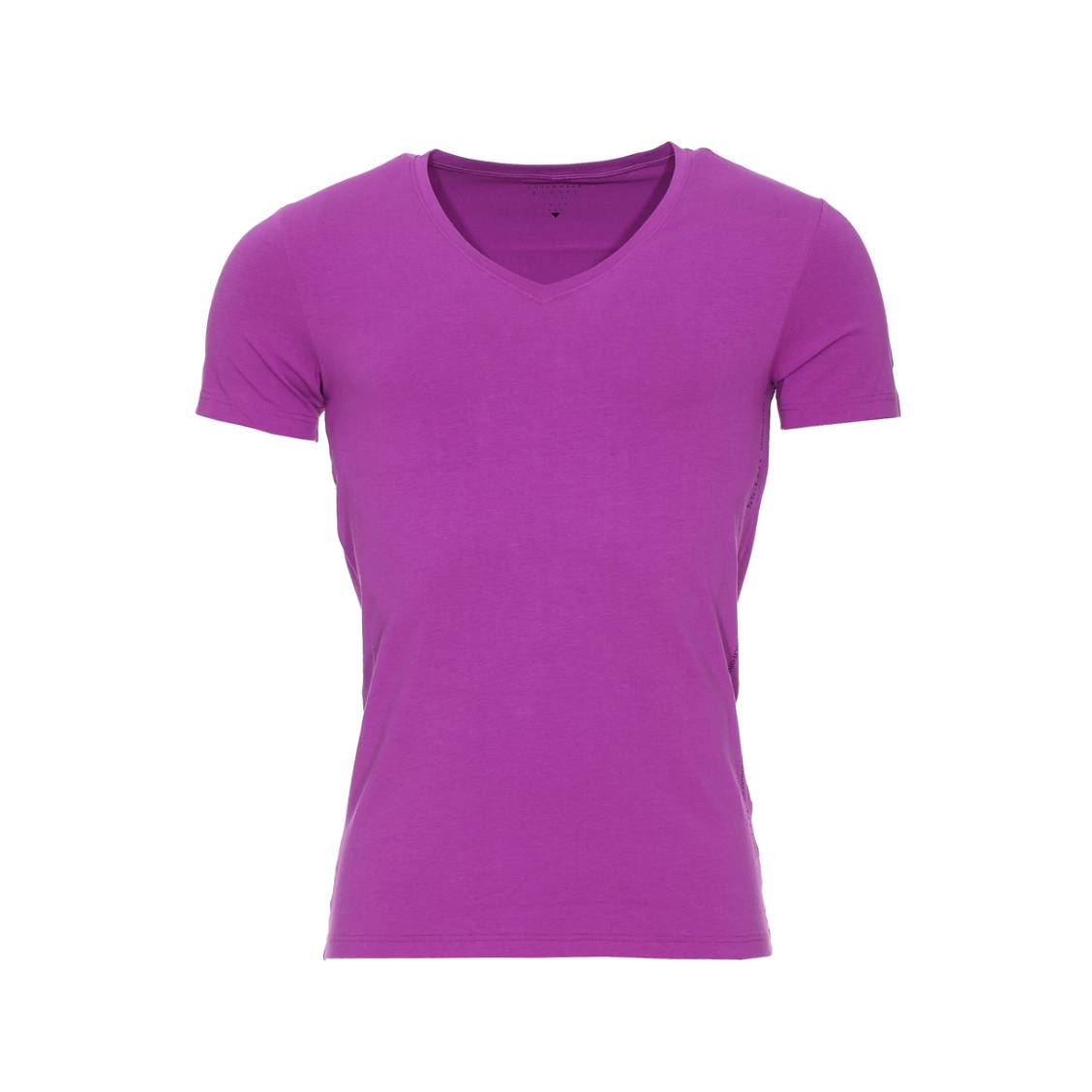 Tee-shirt col v guess en coton stretch mauve
