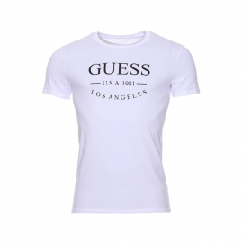 Tee-shirt col rond Guess en coton stretch blanc floqué