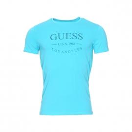 Tee-shirt col rond Guess en coton stretch bleu turquoise floqué
