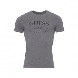 Tee-shirt col rond Guess en coton stretch gris chiné floqué