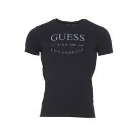 Tee-shirt col rond Guess en coton stretch noir floqué