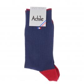 Chaussettes Achile bleu marine à extrémités rouges