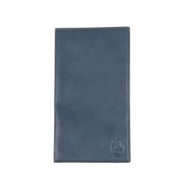 Portefeuille européen ultra plat L'aiglon 18 cartes en cuir grainé bleu gris