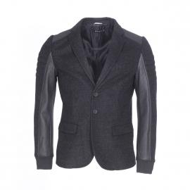 Blazer cintré Antony Morato en laine mélangée gris anthracite à empiècement en simili-cuir