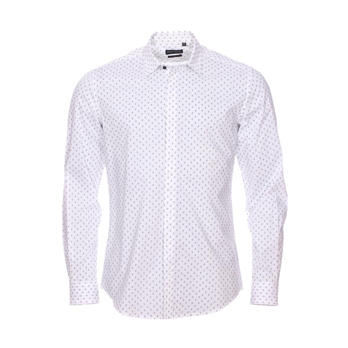 Chemise cintrée  en coton blanc à losanges noirs