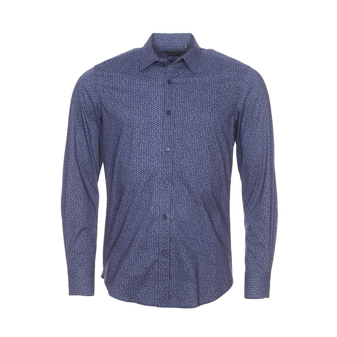 Chemise cintrée  en coton bleu marine à petits pois