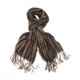 Chèche froissé Antony Morato à rayures gris anthracite et marron clair