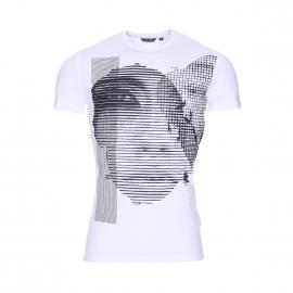 Tee-shirt col rond Antony Morato blanc et imprimé d'un visage à l'avant