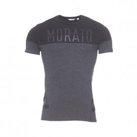 Tee-shirt col rond Antony Morato gris anthracite et noir floqué