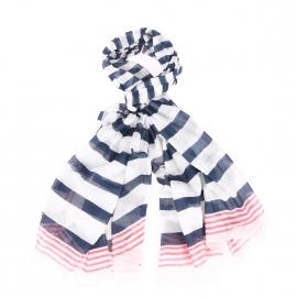 Chèche Armor Lux en coton à rayures blanches, bleu marine et rouge pâle