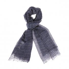 Chèche Armor Lux en laine imprimé mosaïque bleu marine, beige et noir