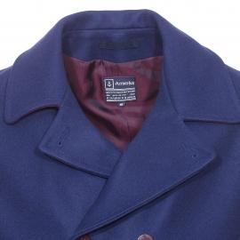 Caban Armor Lux bicolore en drap de laine bleu voilier et prune