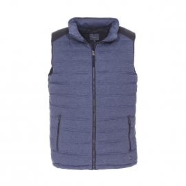 Doudoune sans manches Armor Lux bleu chiné, à capuche dissimulée