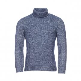 Pull col roulé Héritage Armor lux en coton et laine mérinos bleu marine chiné