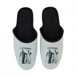 Pantoufles Arthur Co-pyjamage grises à motifs Laurel et Hardy, Fabriquées en France