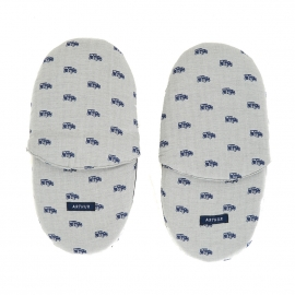 Pantoufles Arthur en coton gris à imprimé voitures bleues