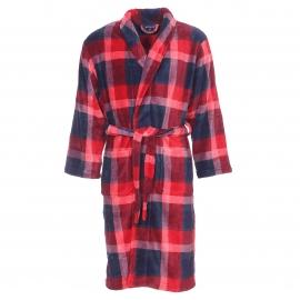 Robe de chambre Arthur en fourrure à carreaux bleu marine et bordeaux