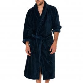 Robe de chambre Arthur en fourrure bleu encre à chevrons noirs