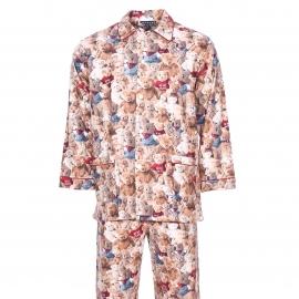 Pyjama Pilou Arthur : Veste boutonnée et pantalon à imprimés oursons en peluche