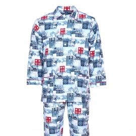 Pyjama Pilou Arthur : Veste boutonnée et pantalon à imprimés paysages de montagne