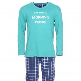 Pyjama chaud Arthur Oregon : Tee-shirt manches longues vert sapin et pantalon bleu marine à carreaux blancs