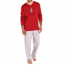 Pyjama chaud Arthur Traineau : Tee-shirt manches longues rouge et pantalon floqué