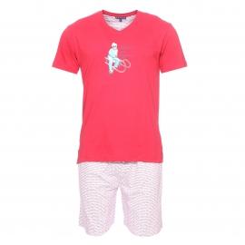 Pyjama court Arthur : Tee-shirt rouge floqué et bermuda blanc floqué
