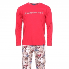 Pyjama long Arthur Teddy bear : Tee-shirt manches longues rouge foncé et pantalon à imprimés oursons en peluche
