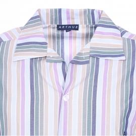 Pyjama long Arthur : Veste boutonnée et pantalon à rayures multicolores
