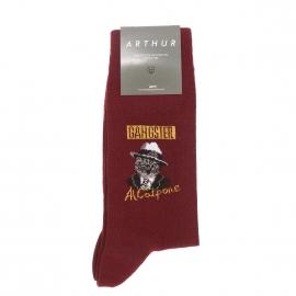 Chaussettes Arthur Gangster en coton et polyamide bordeaux à motif Al Catpone