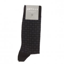 Chaussettes Arthur en coton et polyamide noir à motifs carrés et ronds