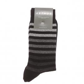 Chaussettes Arthur en coton et polyamide noir à rayures grises dégradées