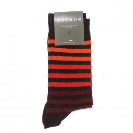 Chaussettes Arthur en coton et polyamide noir à rayures oranges dégradées