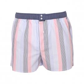 Caleçon club Arthur à fines rayures bleu ciel, bleu marine et roses ceinture bleu jean