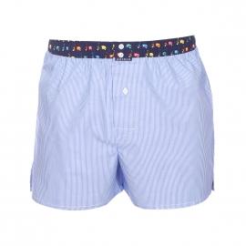 Caleçon club Arthur à fines rayures bleu ciel et blanches, ceinture bleu marine à vespa multicolores