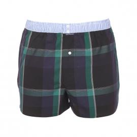 Caleçon club Arthur noir à carreaux vert sapin et bleu marine, ceinture à fines rayures bleu ciel et blanches