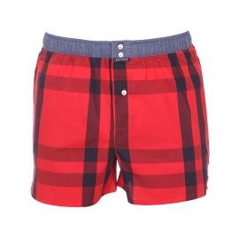 Caleçon club Arthur rouge à carreaux bleu marine ceinture bleu jean