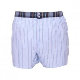 Caleçon club Arthur bleu ciel à fines rayures multicolores, ceinture bleu marine à carreaux