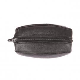 Porte-monnaie ovale recto-verso Arthur&Aston en cuir noir grainé