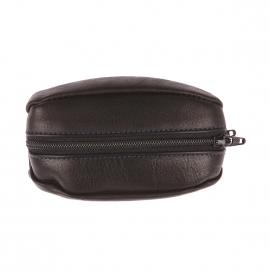 Porte-monnaie ovale recto-verso Arthur&Aston en cuir noir grainé et surpiqûres bleues