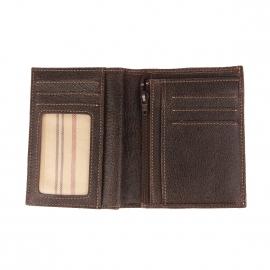 Portefeuille européen à 3 volets Arthur&Aston en cuir souple châtaigne à surpiqûres beiges