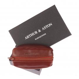 Porte-monnaie ovale recto-verso Arthur&Aston en cuir cognac