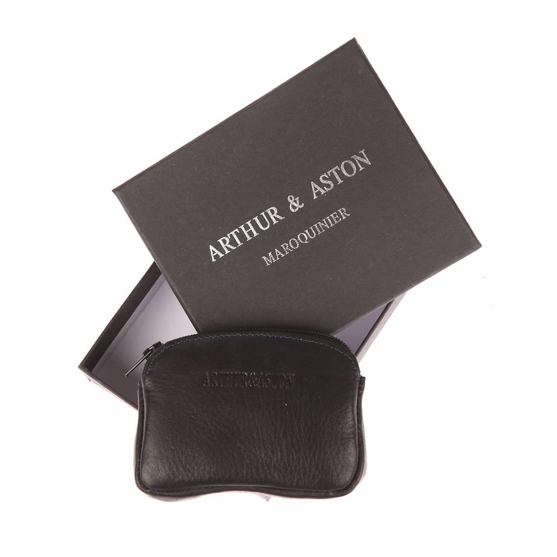 Porte monnaie zipp arthur aston en cuir noir et surpiq res bleues rue des hommes - Porte monnaie arthur et aston ...