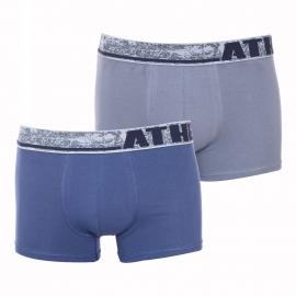 Lot de 2 boxers Athena Factory en coton stretch gris et bleu marine