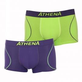Lot de 2 boxers Athena Freemotion en microfibre violet et vert anis
