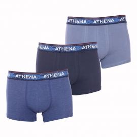 Lot de 3 boxers Athena en coton stretch bleu grisé, bleu marine et bleu marine chiné