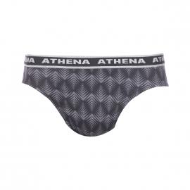 Lot de 3 slips taille basse Tonic Athena en coton peigné : 1 modèle gris anthracite, 1 modèle gris à motifs chevrons géométriques noirs, 1 modèle noir à motifs gris