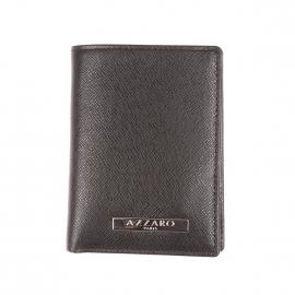 Porte-cartes Madison Azzaro à 2 volets en cuir noir grainé
