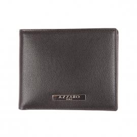Portefeuille Madison Azzaro format italien à 2 volets en cuir noir grainé et brillant