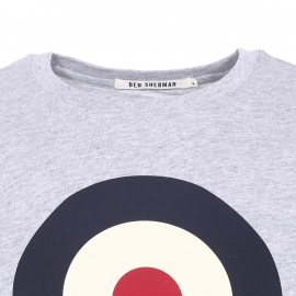 Tee-shirt col rond Ben Sherman en coton gris chiné et imprimé d'une cible